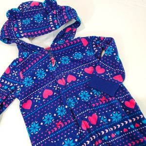 Carter's Blue Fleece Hooded 1pc Jumpsuit Size 12M